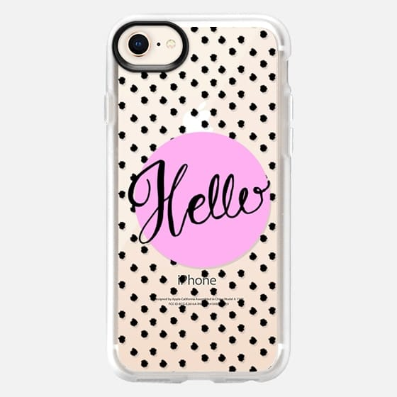 Hello Hand lettering - purple and dots - Snap Case