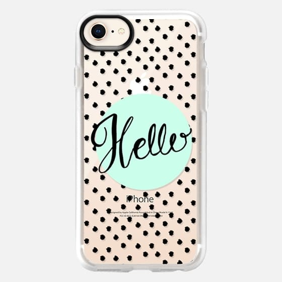 Hello Hand Lettering - soft blue and dots - Snap Case