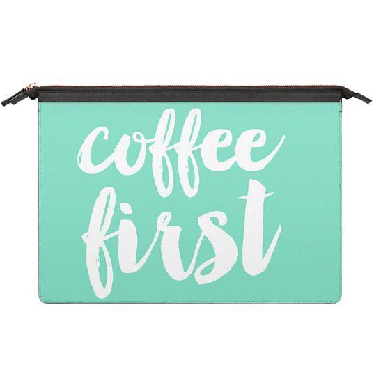 MacBook 12 Sleeves - coffee first - mint