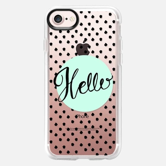 Hello Hand Lettering - soft blue and dots - Classic Grip Case