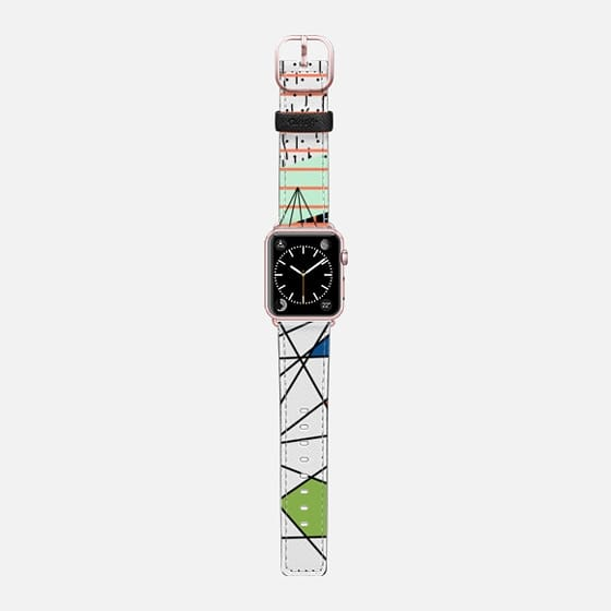 Mint abstract - Saffiano Leather Watch Band