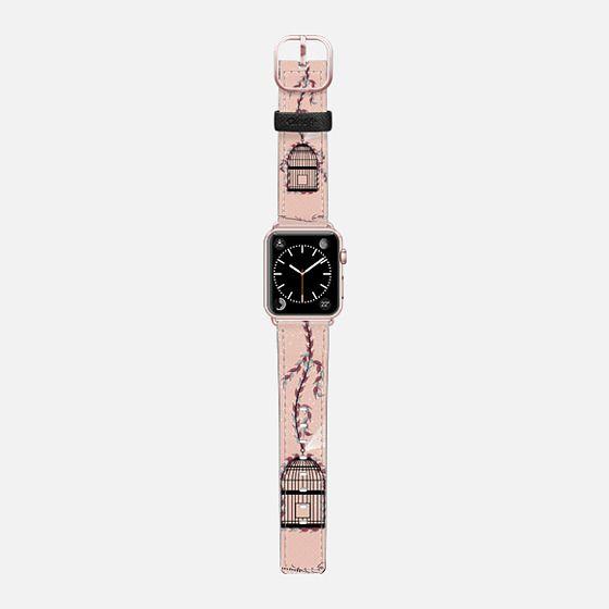 Peach bird cage - Saffiano Leather Watch Band