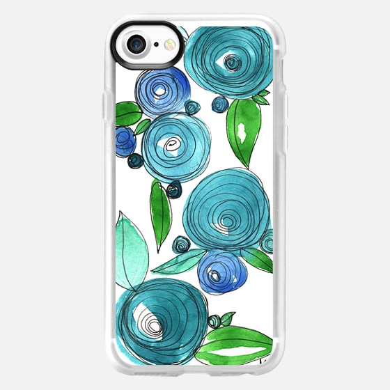 Blue Roses on white - Classic Grip Case