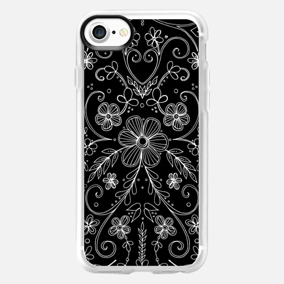 Antique Floral Lace on black - Classic Grip Case