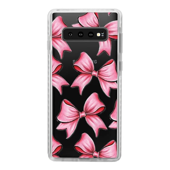 Samsung Galaxy S10 Plus Cases - TRANSPARENT PINK BOWS