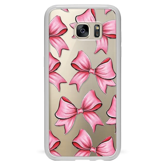Samsung Galaxy S7 Edge Cases - TRANSPARENT PINK BOWS