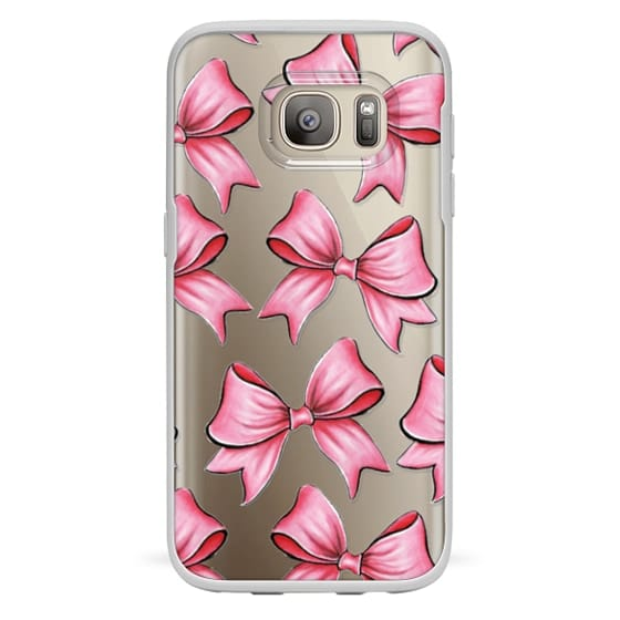 Samsung Galaxy S7 Cases - TRANSPARENT PINK BOWS