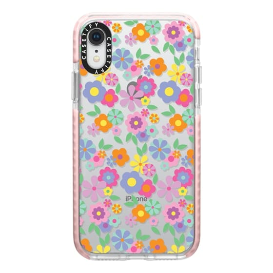 Impact Iphone Xr Case Cheerful 1960s Floral Bedsheet Wallpaper Pattern Rainbow Flowers