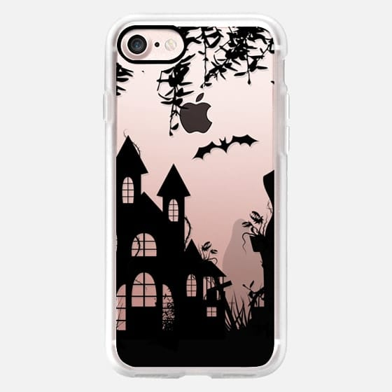 Halloween. Black castle and statue -