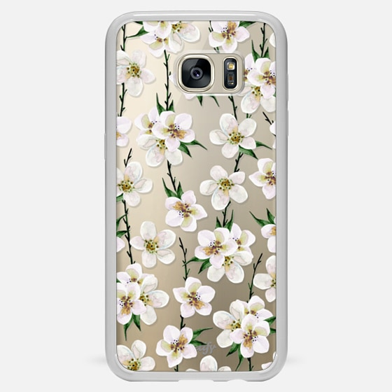 Galaxy S7 Edge Case - White flowers and green branches. Watercolor