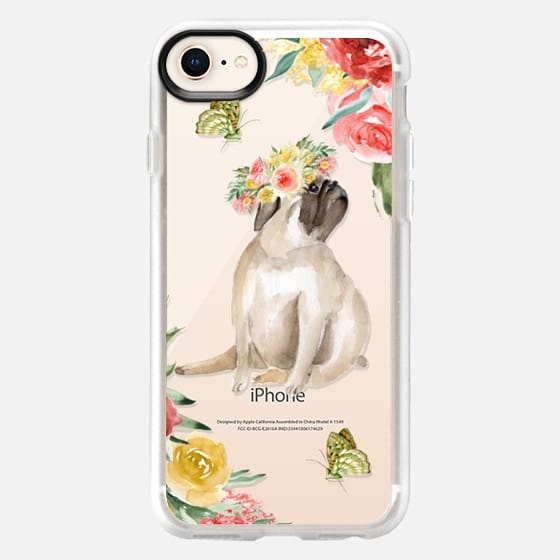 Cute pug and butterflies. Watercolor - Snap Case