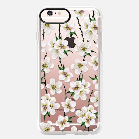 iPhone 6s Plus Case - White flowers and green branches. Watercolor