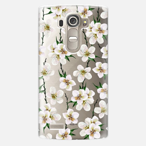 LG G4 Case - White flowers and green branches. Watercolor