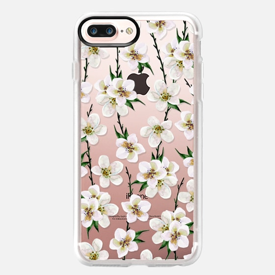 iPhone 7 Plus Case - White flowers and green branches. Watercolor