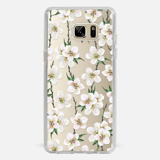 Galaxy Note 7 Capa - White flowers and green branches. Watercolor