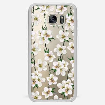 Samsung Galaxy S7 Edge ケース White flowers and green branches. Watercolor