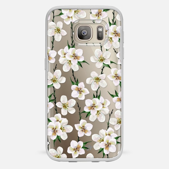 Galaxy S7 Hülle - White flowers and green branches. Watercolor