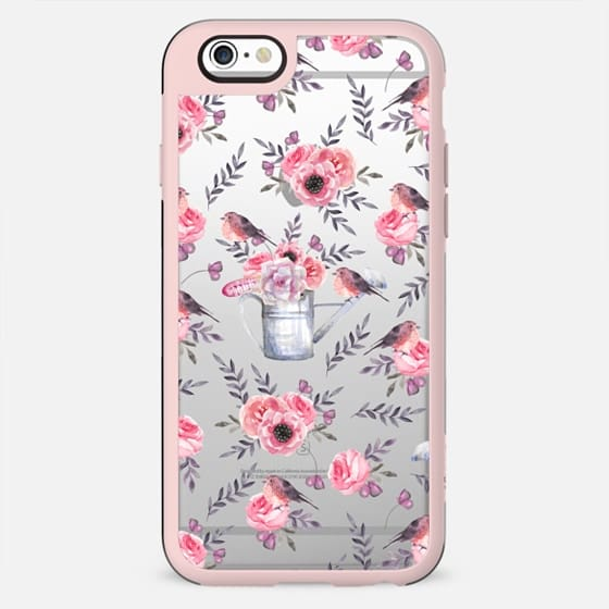 Flowers and birds. Watercolor delicate pattern - New Standard Case