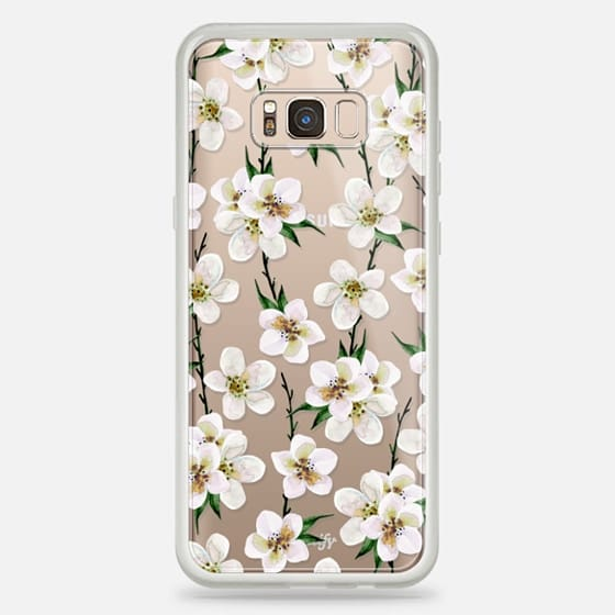 White flowers and green branches. Watercolor - Classic Snap Case