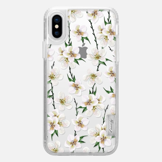 iPhone X 케이스 - White flowers and green branches. Watercolor