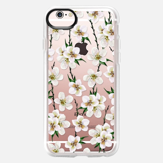 iPhone 6s Case - White flowers and green branches. Watercolor