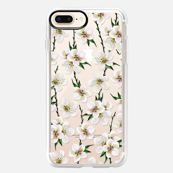 iPhone 8 Plus Funda - White flowers and green branches. Watercolor