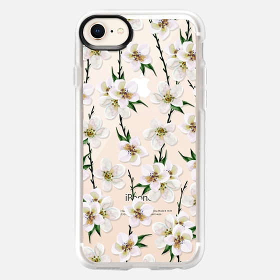 iPhone 8 Case - White flowers and green branches. Watercolor