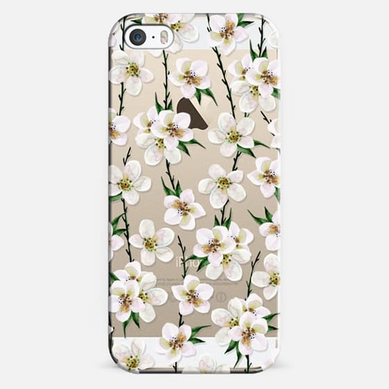 iPhone 5s Case - White flowers and green branches. Watercolor