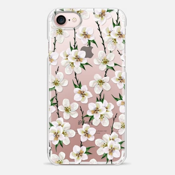 iPhone 7 Capa - White flowers and green branches. Watercolor