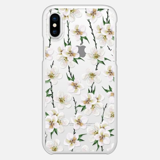 White flowers and green branches. Watercolor - เคส Classic Grip