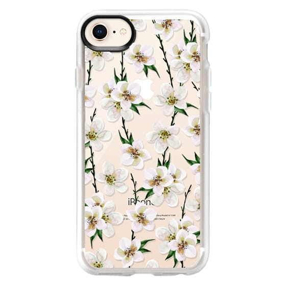 iPhone 8 Funda - White flowers and green branches. Watercolor