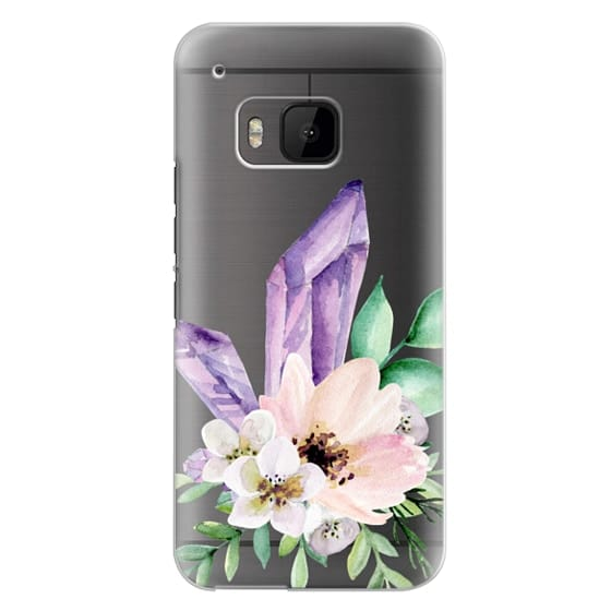 Htc One M9 Cases - Crystals and flowers. Watercolor