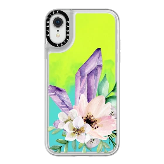 iPhone XR Cases - Crystals and flowers. Watercolor