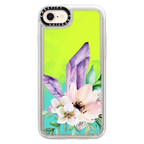 iPhone 8 Cases - Crystals and flowers. Watercolor