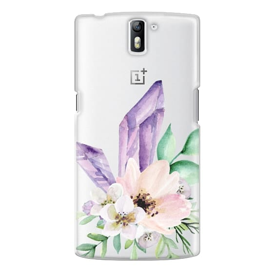 One Plus One Cases - Crystals and flowers. Watercolor
