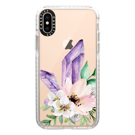 iPhone XS Cases - Crystals and flowers. Watercolor