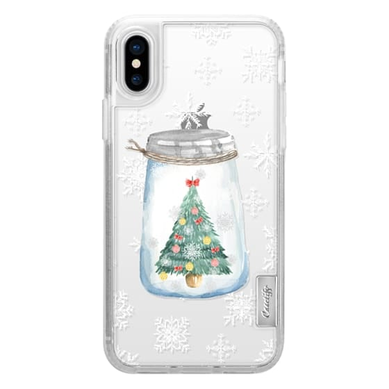 iPhone X Cases - Christmas glass jar with tree