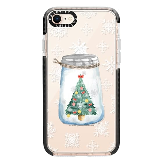 iPhone 8 Cases - Christmas glass jar with tree