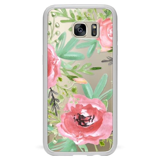 Samsung Galaxy S7 Edge Cases - Red flowers. Watercolor