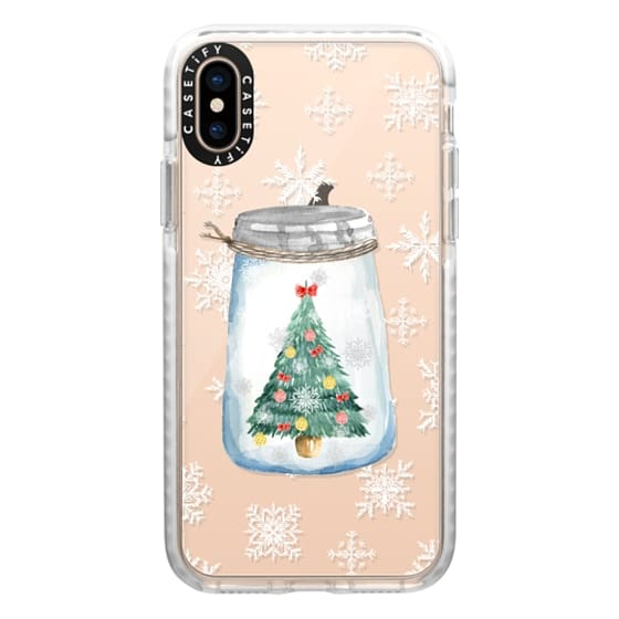 iPhone XS Cases - Christmas glass jar with tree
