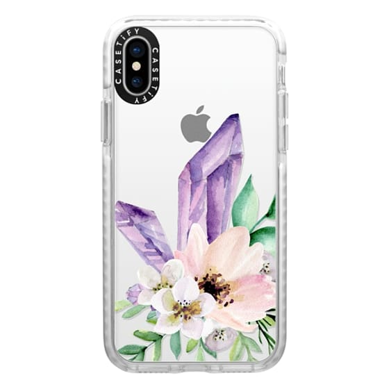 iPhone X Cases - Crystals and flowers. Watercolor