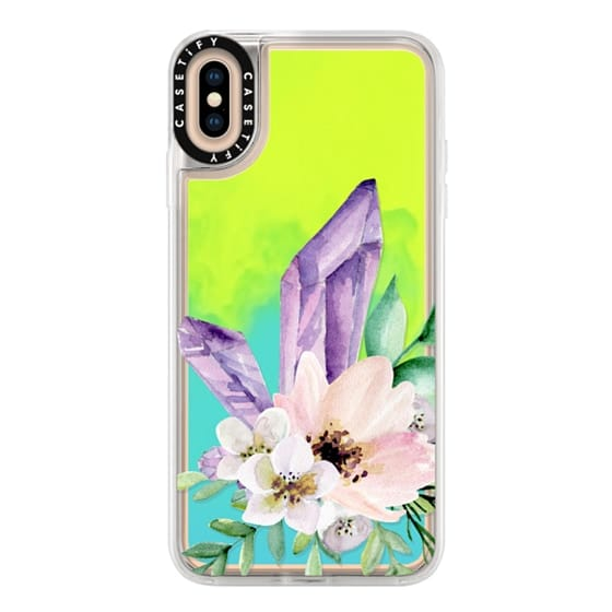 iPhone XS Max Cases - Crystals and flowers. Watercolor