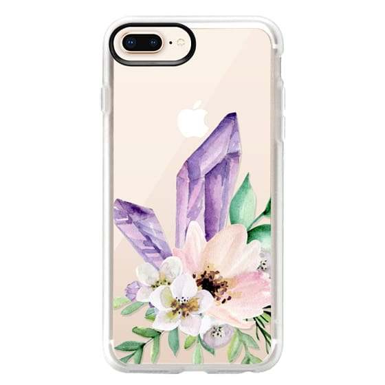 iPhone 8 Plus Cases - Crystals and flowers. Watercolor