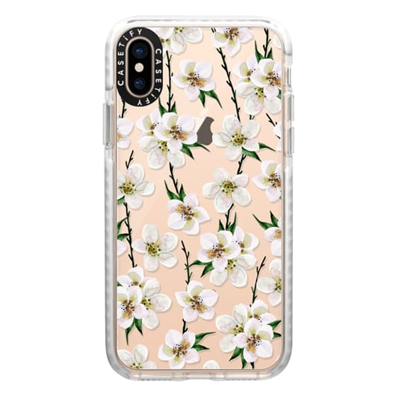 iPhone XS Cases - White flowers and green branches. Watercolor