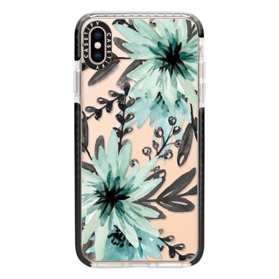 iPhone XS Max Cases - Blue asters. Watercolor
