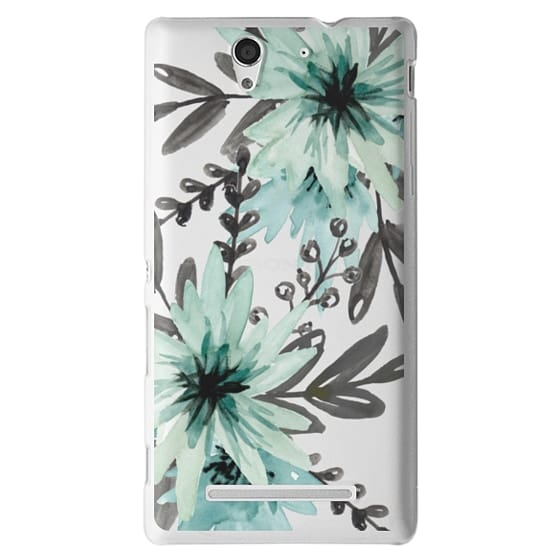 Sony C3 Cases - Blue asters. Watercolor