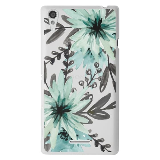 Sony T3 Cases - Blue asters. Watercolor