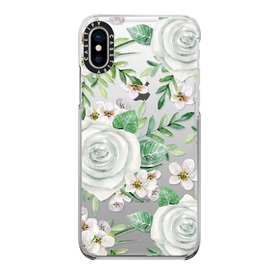 iPhone X Cases - White roses. Watercolor pattern