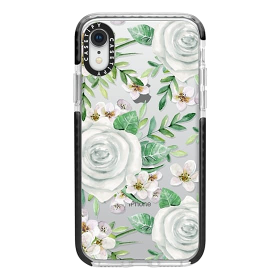 iPhone XR Cases - White roses. Watercolor pattern