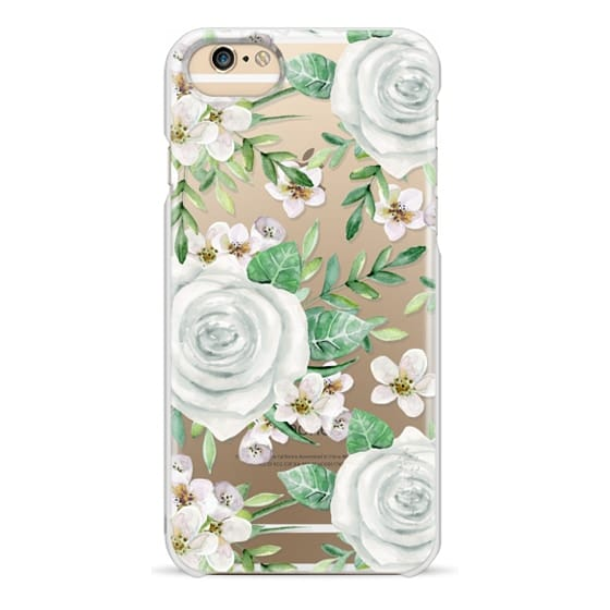 iPhone 4 Cases - White roses. Watercolor pattern